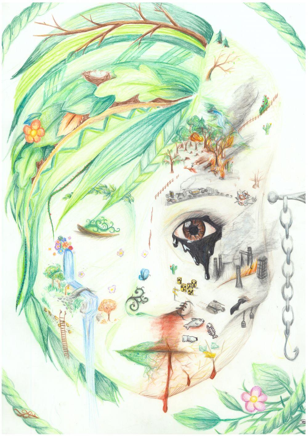 Gewinner-Zeichnung, Bild Platz 2, 13 bis 16 Jahre, Umwelt-Zeichnungswettbewerb 2018