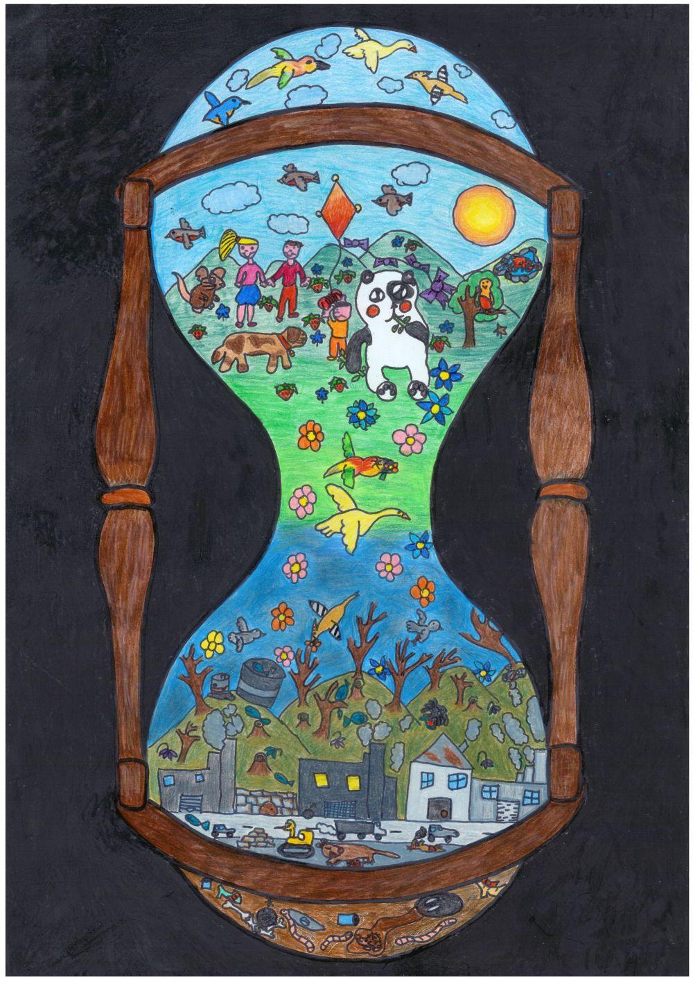 Gewinner-Zeichnung, Bild Platz 3, 6 bis 9 Jahre, Umwelt-Zeichnungswettbewerb 2018