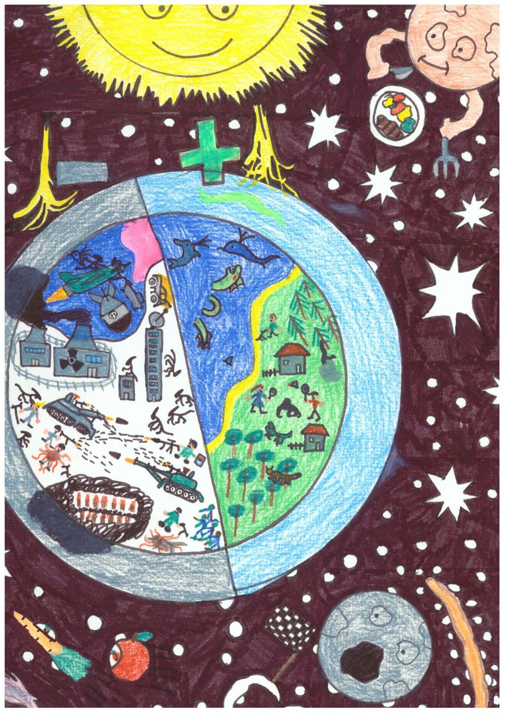 Gewinner-Zeichnung, Bild Sonderpreis GVB, 10 bis 12 Jahre, Umwelt-Zeichnungswettbewerb 2018