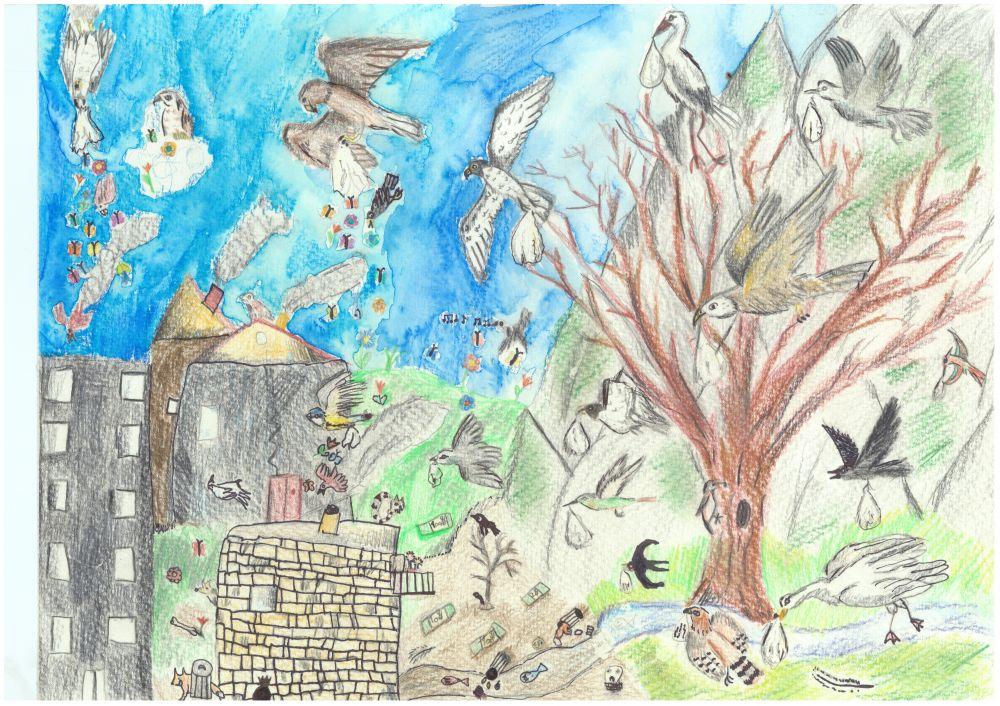 Gewinner-Zeichnung, Bild Sonderpreis GVB, 6 bis 9 Jahre, Umwelt-Zeichnungswettbewerb 2018