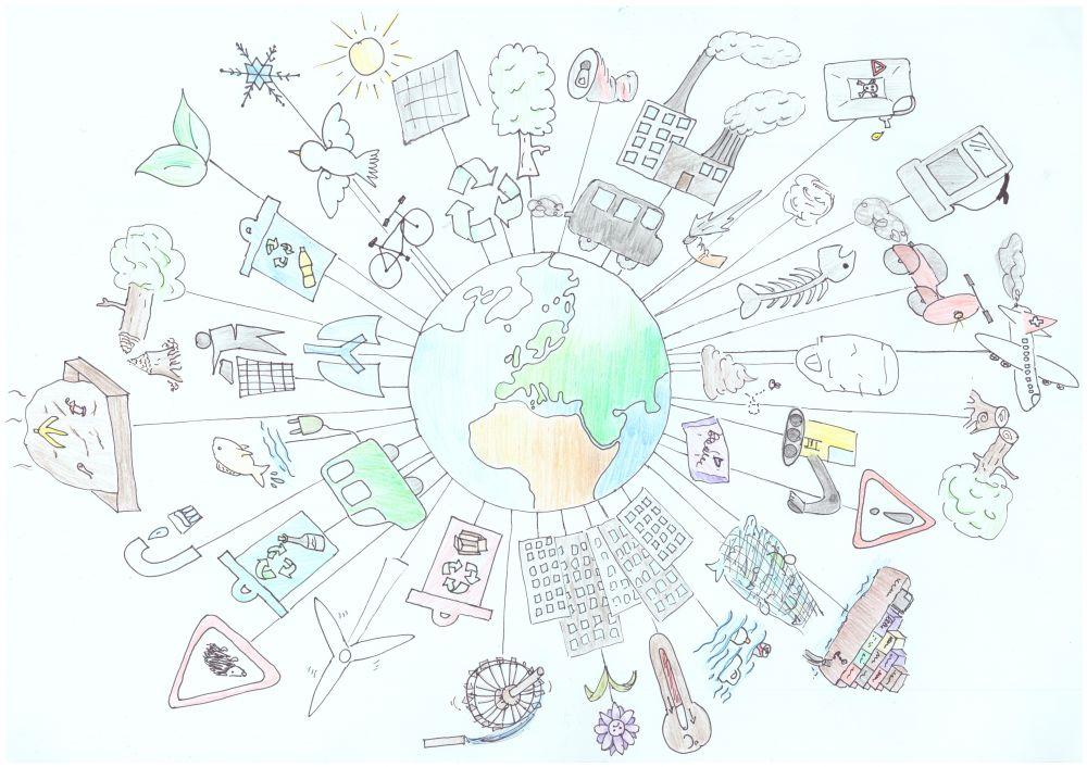 Gewinner-Zeichnung, Bild Sonderpreis IQNet, 10 bis 12 Jahre, Umwelt-Zeichnungswettbewerb 2018