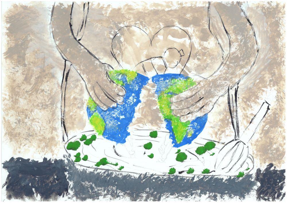 Gewinner-Zeichnung, Bild Sonderpreis IQNet, 13 bis 16 Jahre, Umwelt-Zeichnungswettbewerb 2018