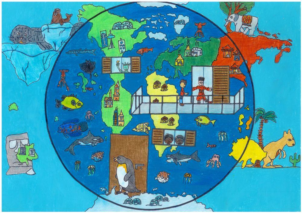 Gewinner-Zeichnung, Bild Sonderpreis IQNet, 6 bis 9 Jahre, Umwelt-Zeichnungswettbewerb 2018