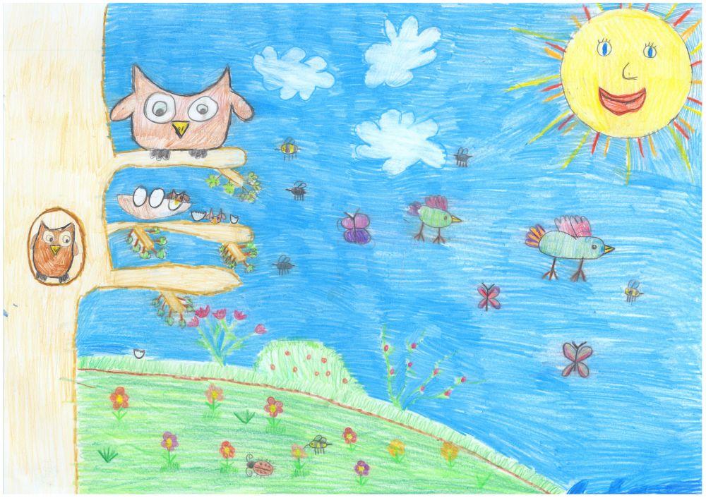 Gewinner-Zeichnung, Bild Sonderpreis Sarasin, 6 bis 9 Jahre, Umwelt-Zeichnungswettbewerb 2018