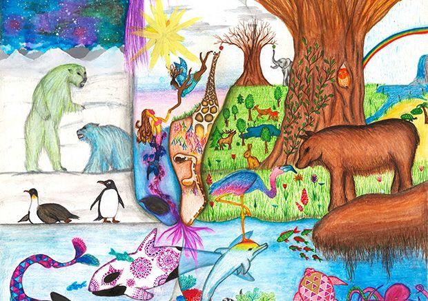 Gewinner-Zeichnung, Bild Platz 2, 10 bis 12 Jahre, Umwelt-Zeichnungswettbewerb 2019