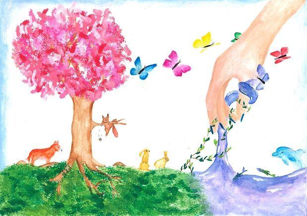 Gewinner-Zeichnung, Bild Sonderpreis Sarasin, 13 bis 16 Jahre, Umwelt-Zeichnungswettbewerb 2019