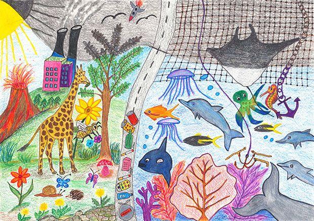 Gewinner-Zeichnung, Bild Sonderpreis Sarasin, 6 bis 9 Jahre, Umwelt-Zeichnungswettbewerb 2019