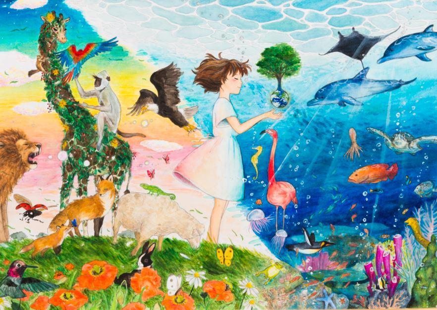 Bild, Thema Biologische Vielfalt, Umwelt-Zeichnungswettbewerb 2019
